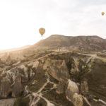 Sunrise as seen from a hot air balloon in Cappadocia