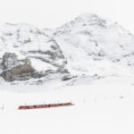 The Jungfraubahn goes up the mountain