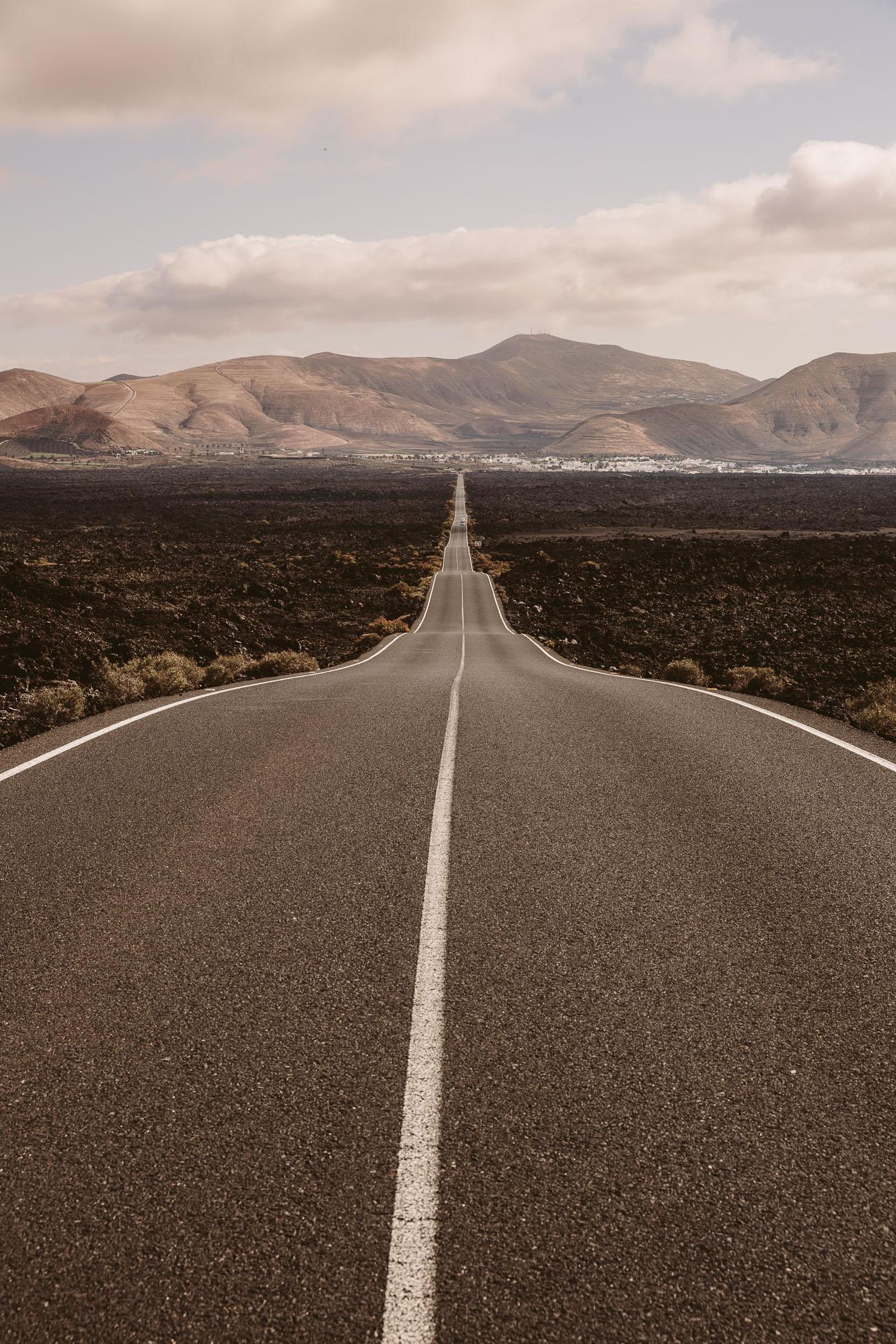 Street through Timanfaya National Park Lanzarote