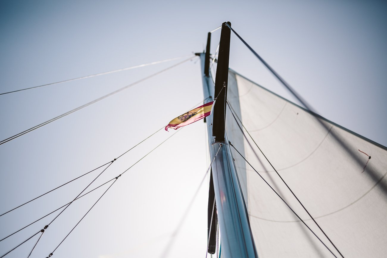 Sailing under the Spanish flag in Lanzarote