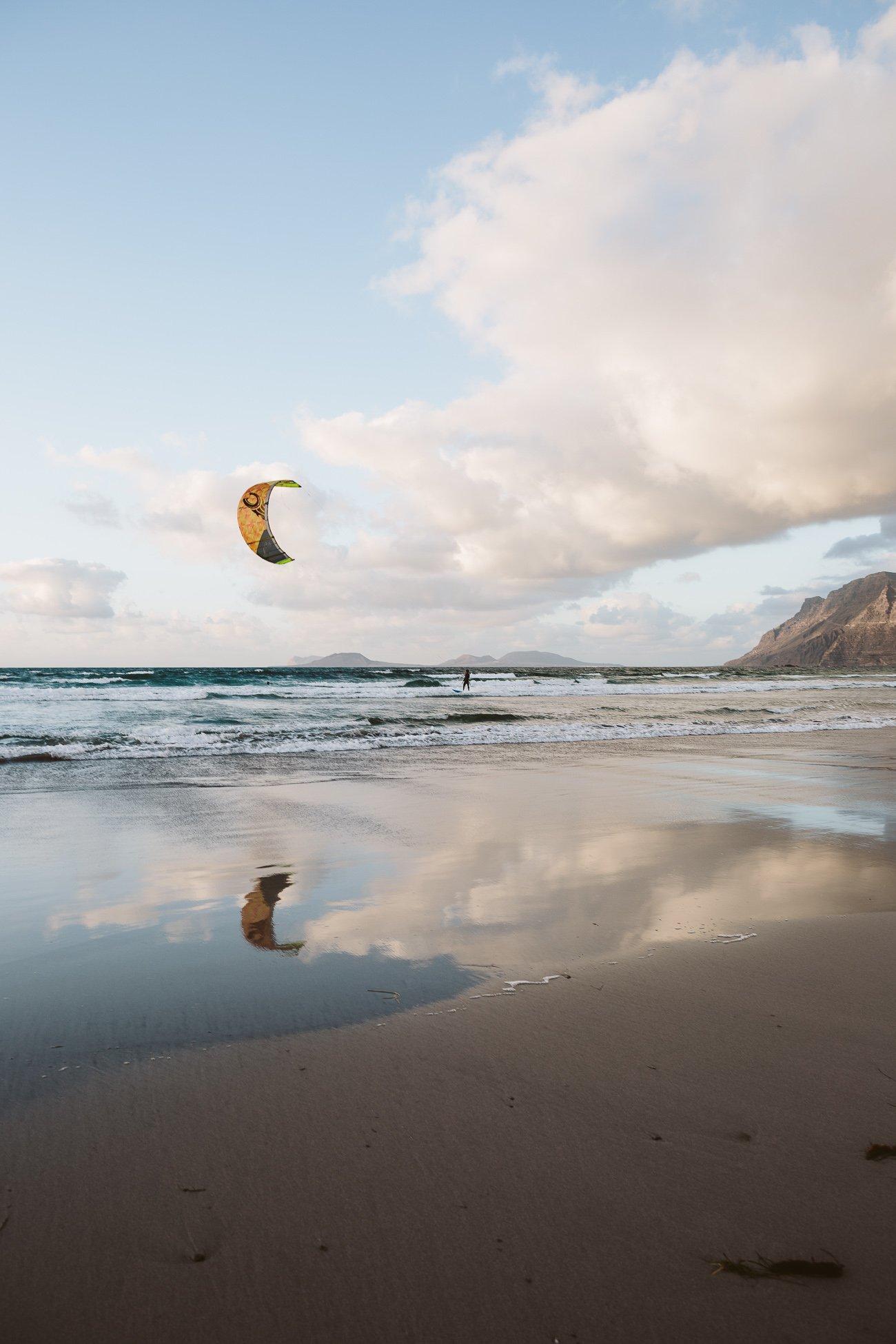 Kite surfer at Famara beach Lanzarote