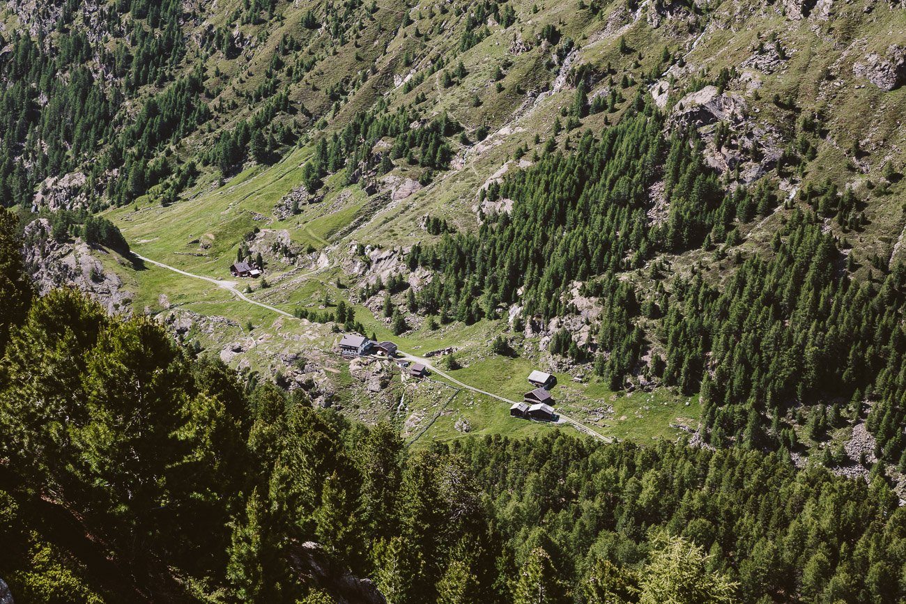 A view down to the valley Windachalm from the hike to Brunnenkogelhaus Oetztal Tyrol