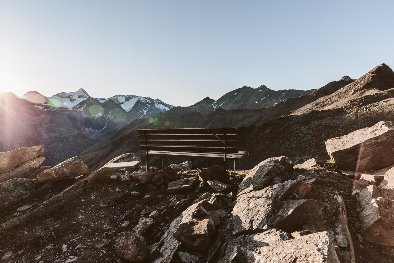 A bench with a view at Brunnenkogelhaus Oetztal Tyrol