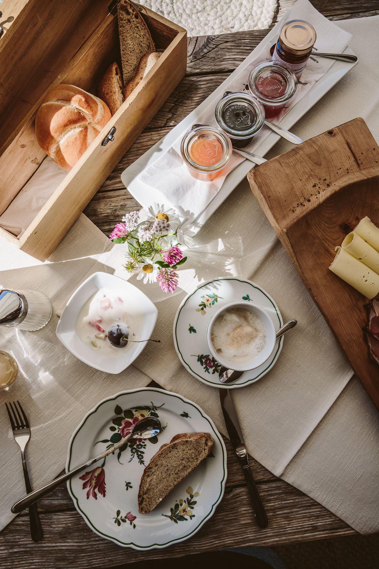 Alpine breakfast at Gampe Thaya Oetztal Tyrol