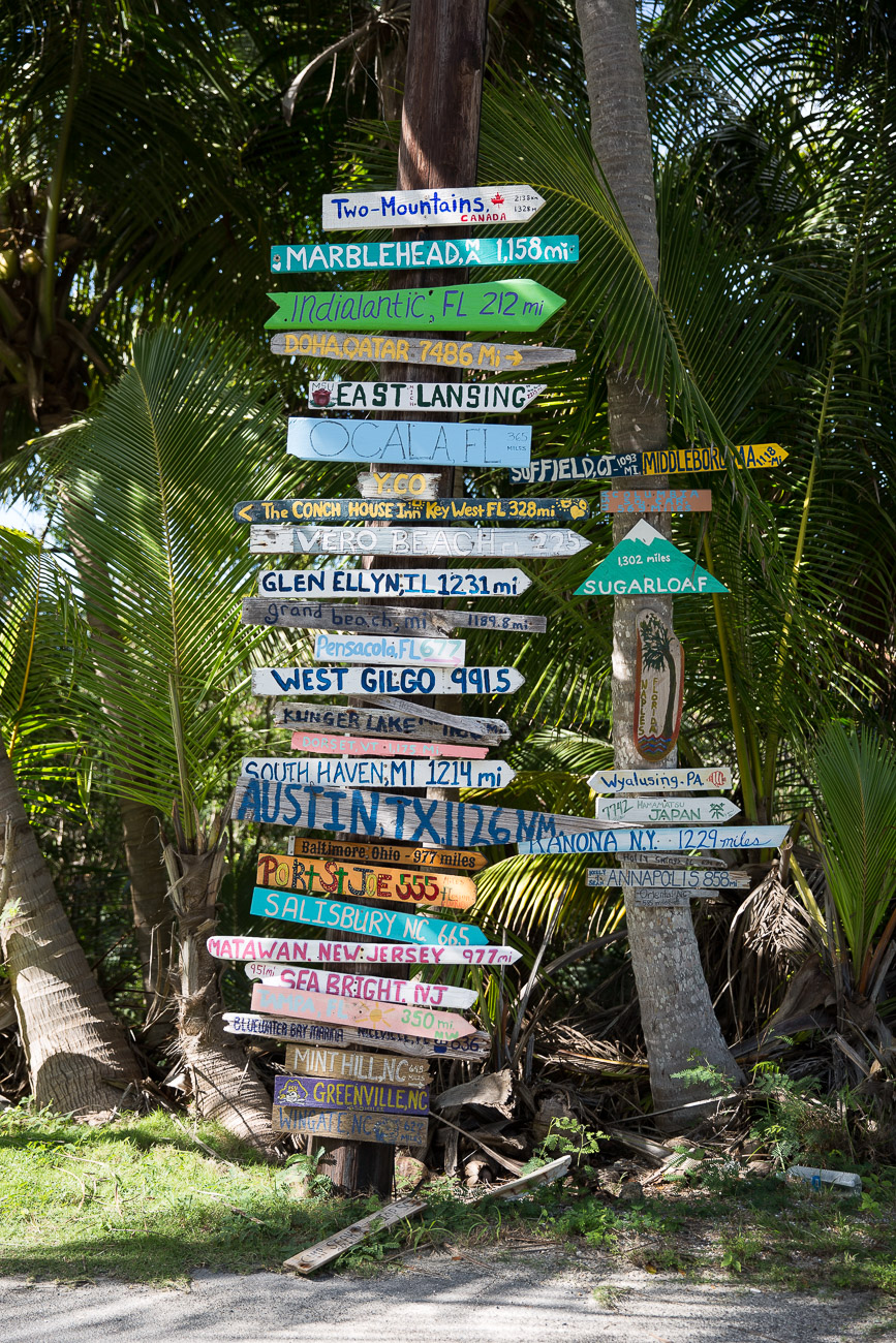 Road signs on Elbow Cay