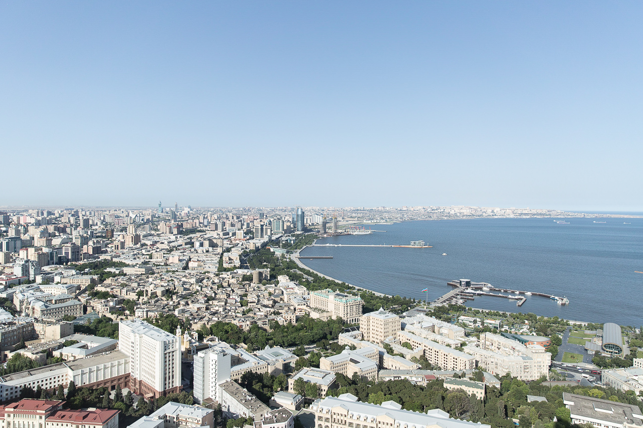 View from the Fairmont Hotel at the Flame Towers in Baku