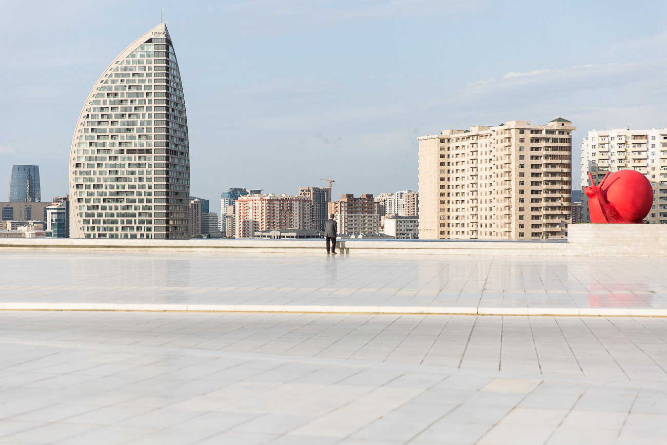 The terrace of the Heydar Aliev Center in Baku