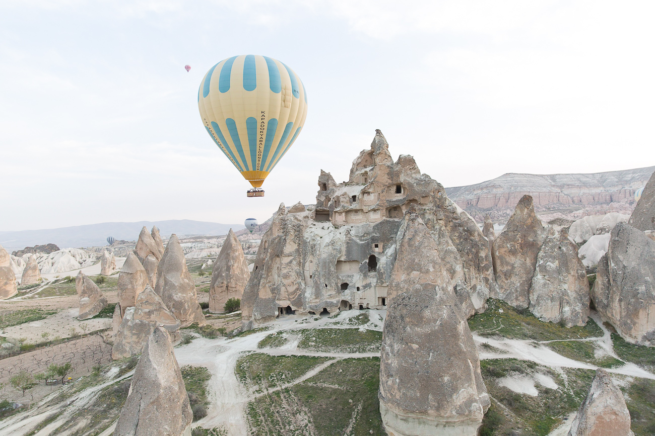 Flying over the fairy chimneys with a hot air balloon