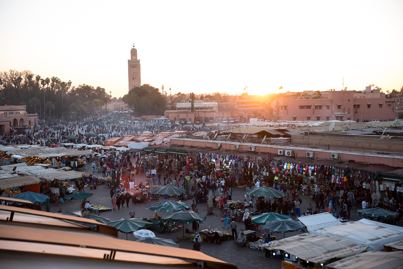 The view from Café de France Marrakech at sunset