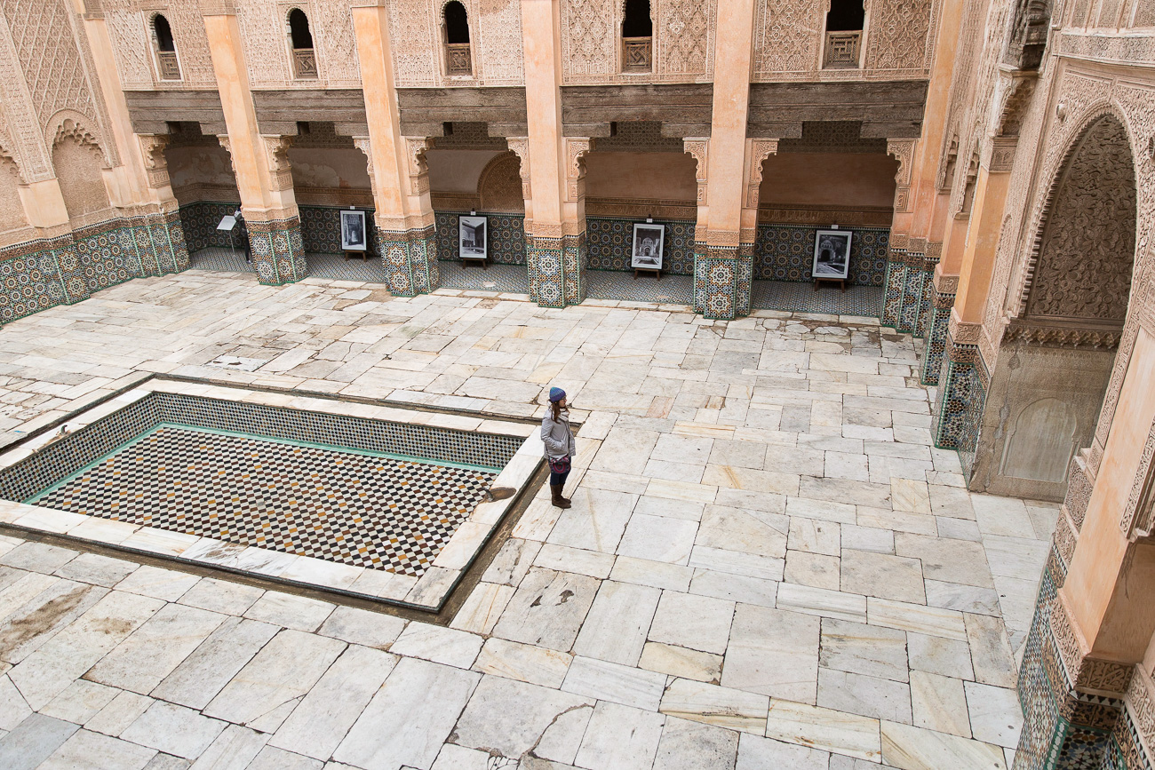 Courtyard of the Medersa Ben Youssef in Marrakech