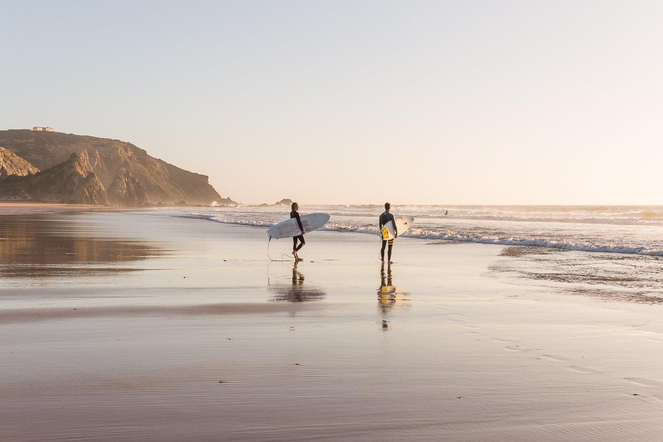 Surfers at Praia do Amado