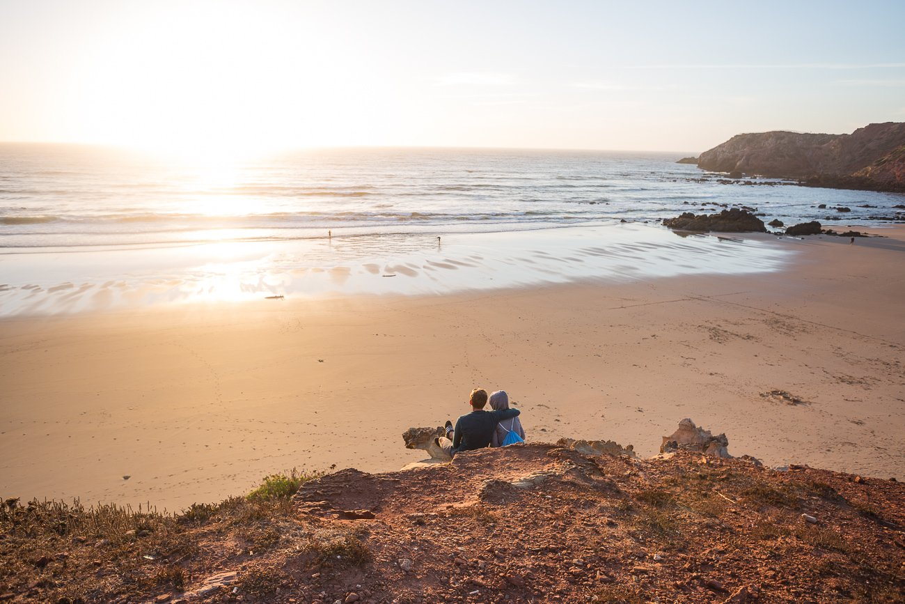 Romantic sunset at Praia do Amado