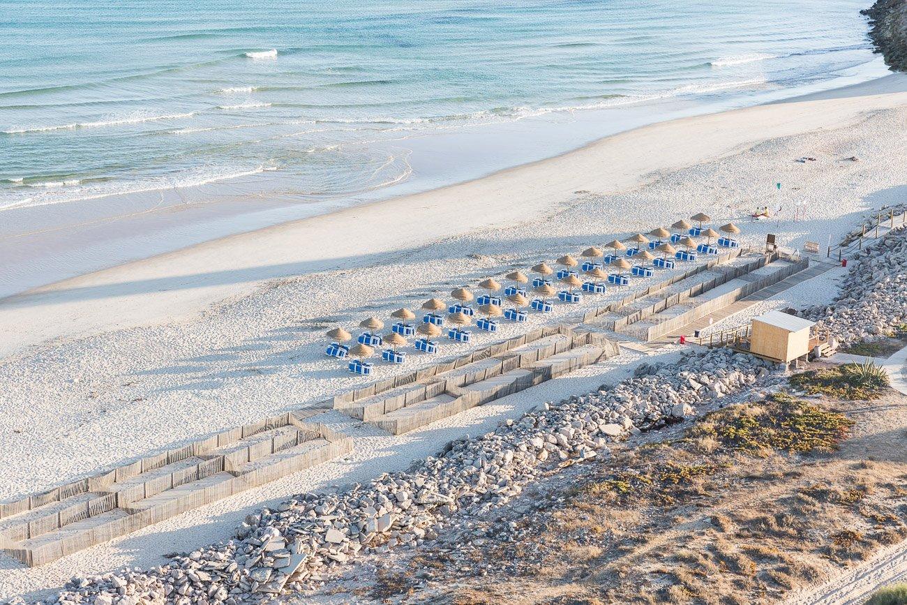 Empty beach at Ilha do Farol, Farol Island, Algarve