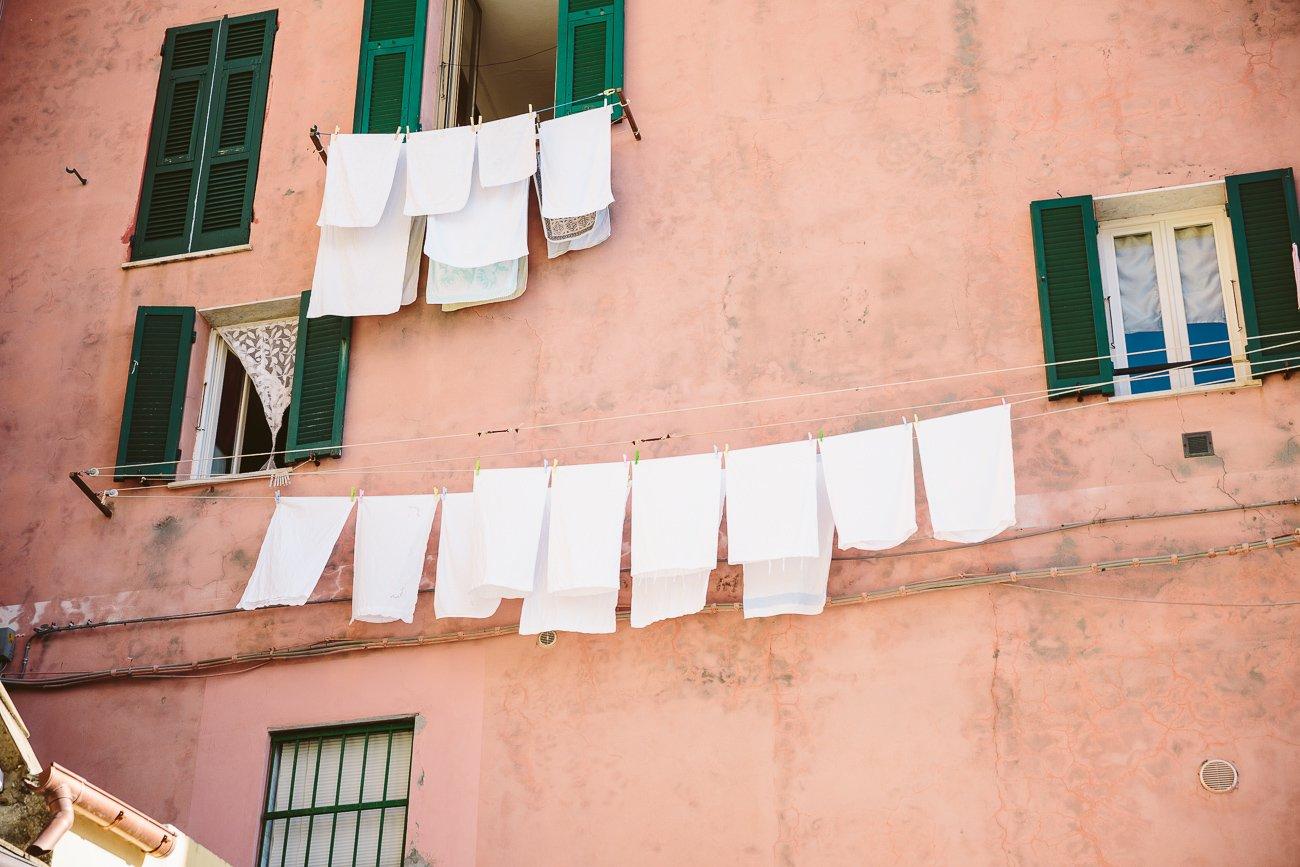 Cinque Terre Facades with laundry