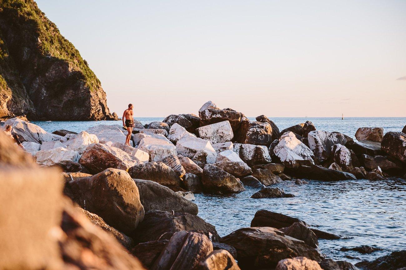 Swimmers in Riomaggiore Cinque Terre