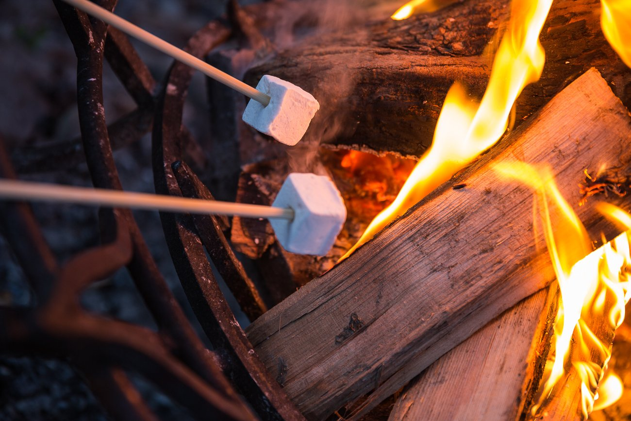 Roasting S'mores at Firelight Camps in Ithaca New York