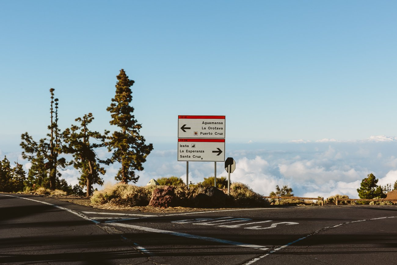 Road signs at Teide National Park