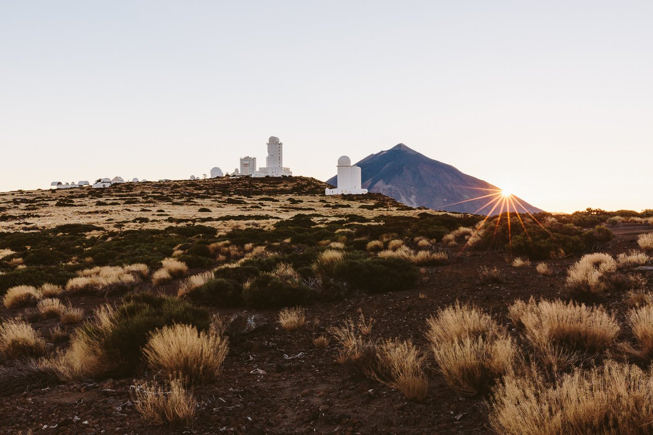 Sunset at the Teide Observatory with views of Teide volcano