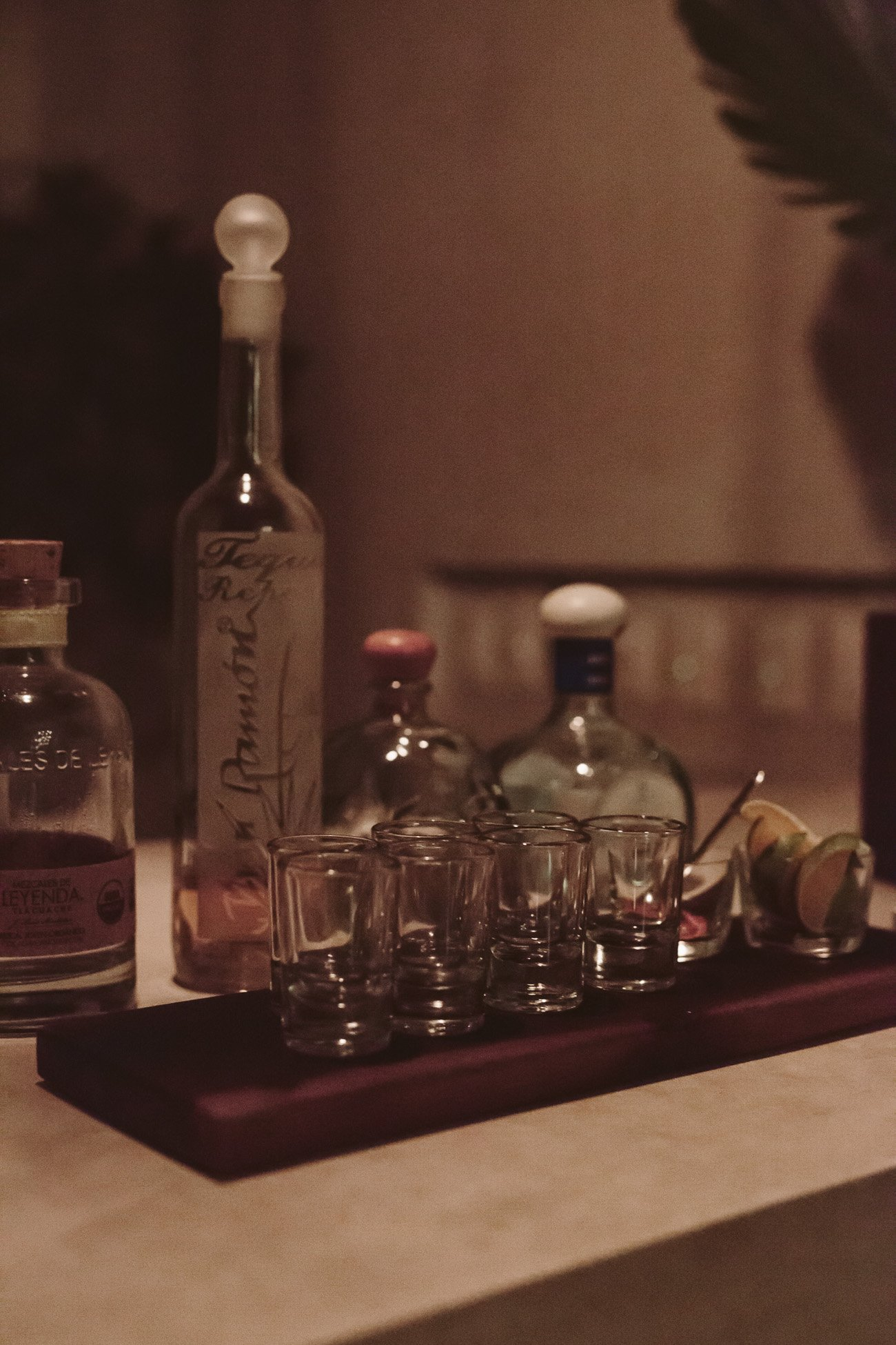 Complimentary Tequila bar at the Diplomat Hotel Merida