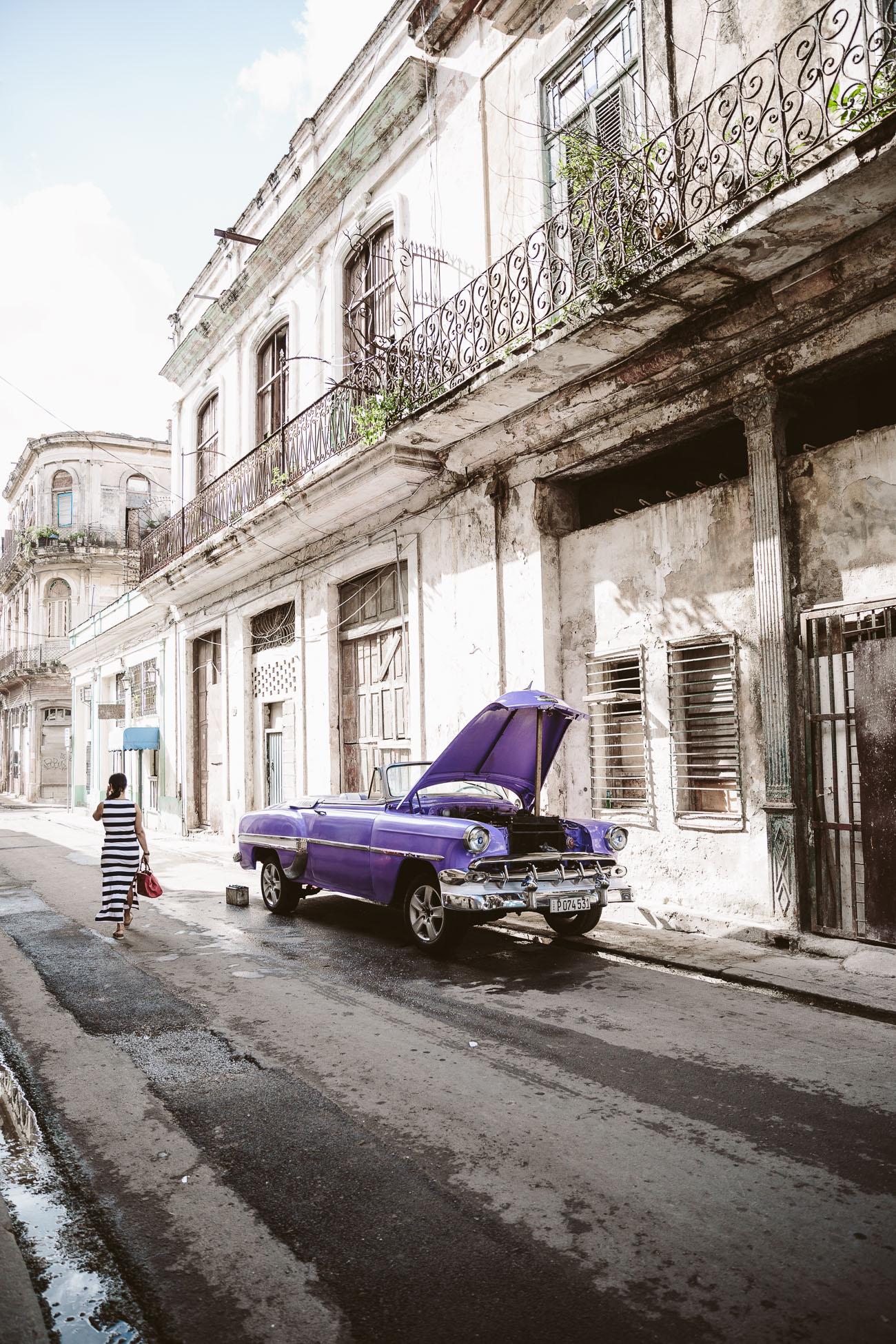 A vintage car in Havana Cuba