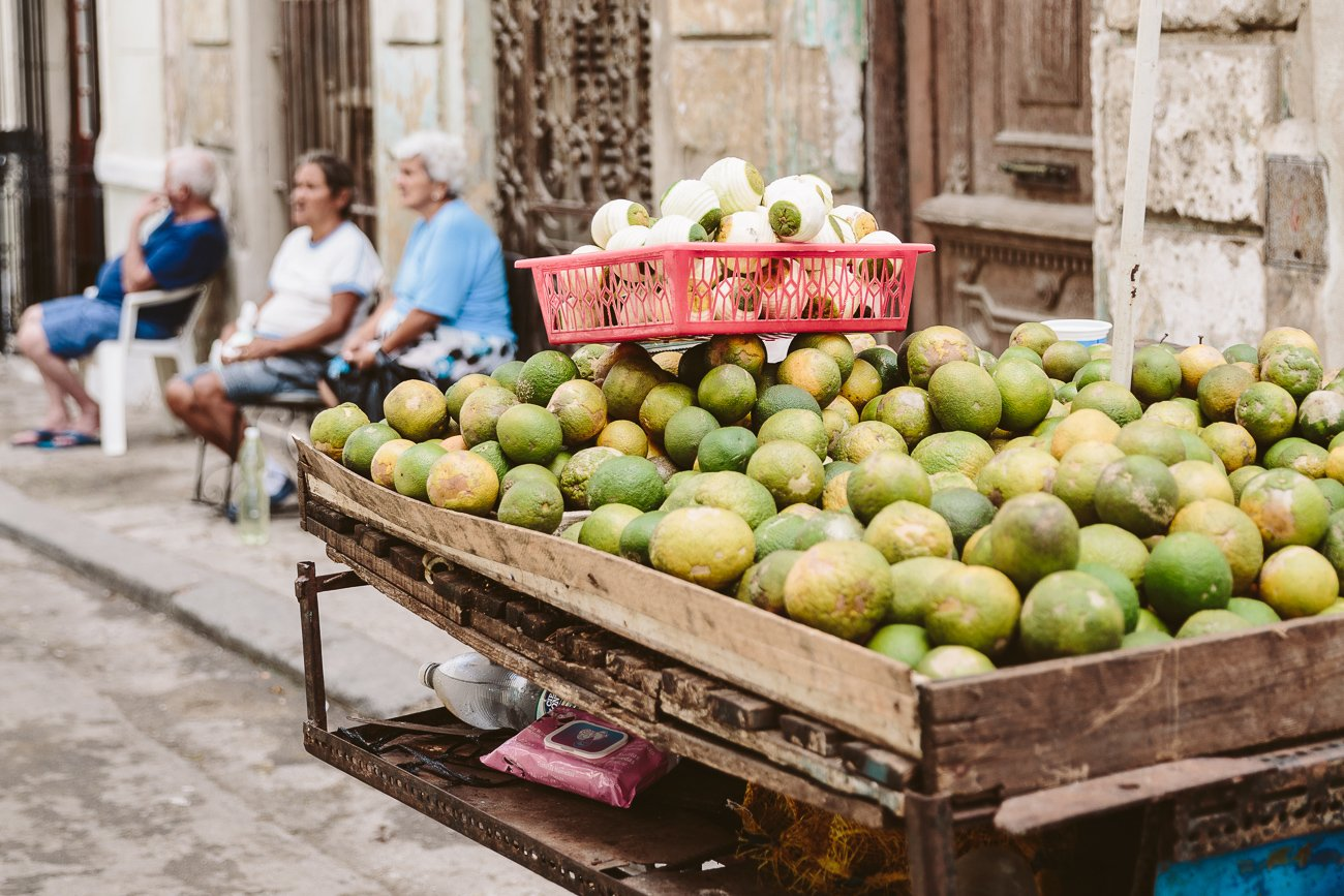 Fresh fruit stand in Havana Cuba