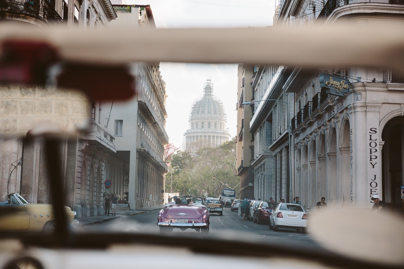 Vintage car ride in Havana Cuba