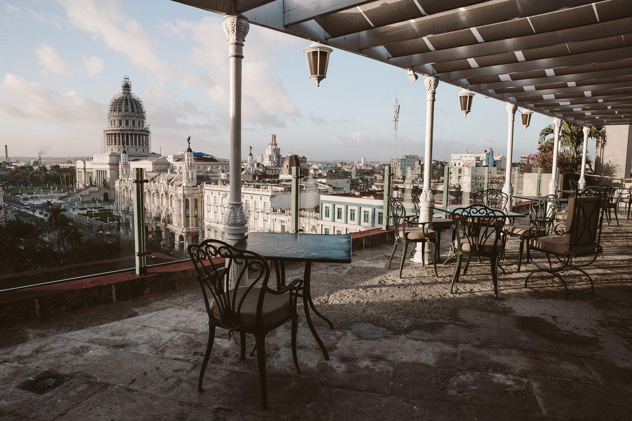 Rooftop café of Iberostar Parque Central Havana Cuba