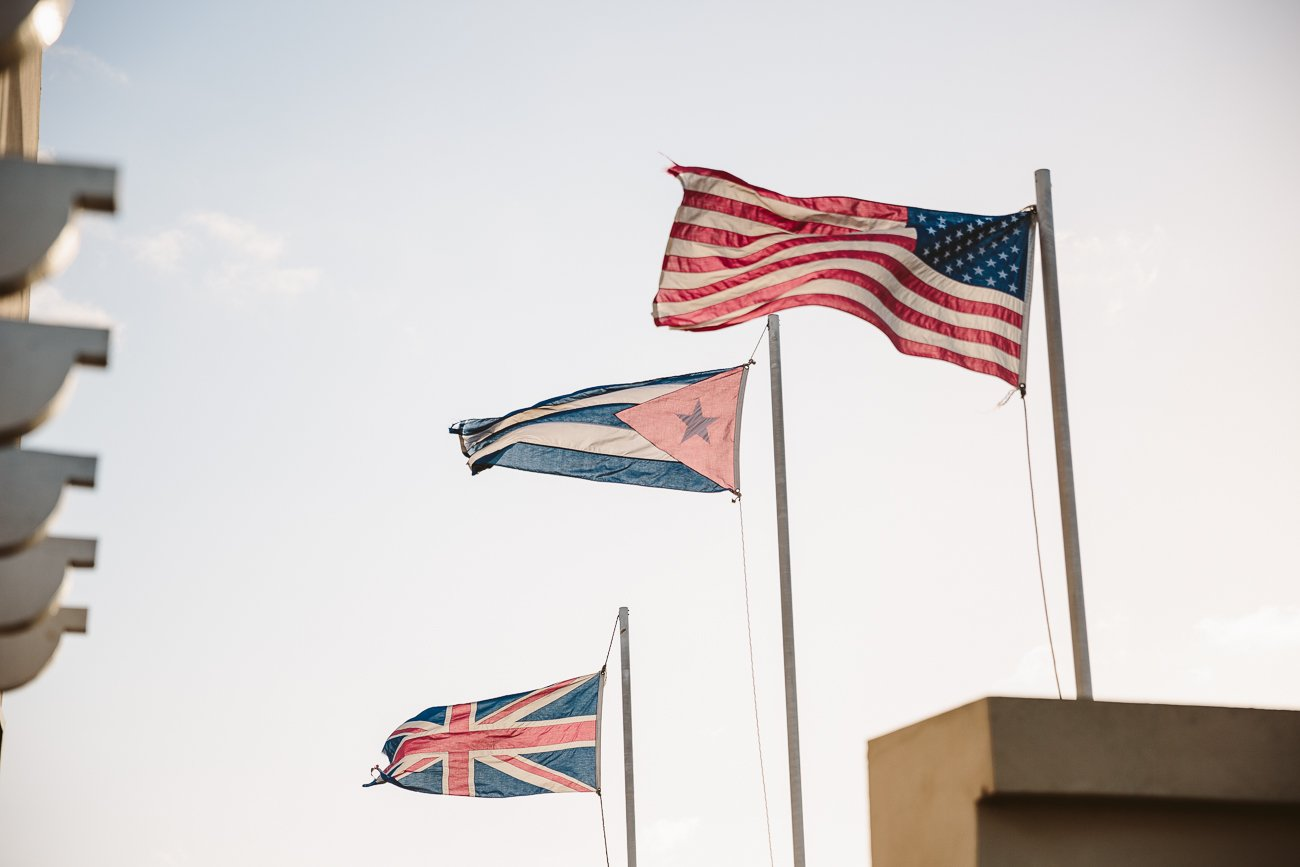 Cuban flag next to American Flag