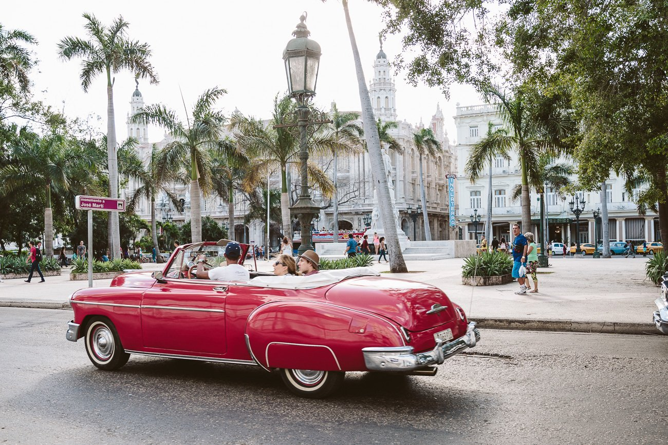 Vintage car at Parque Central Havana Cuba
