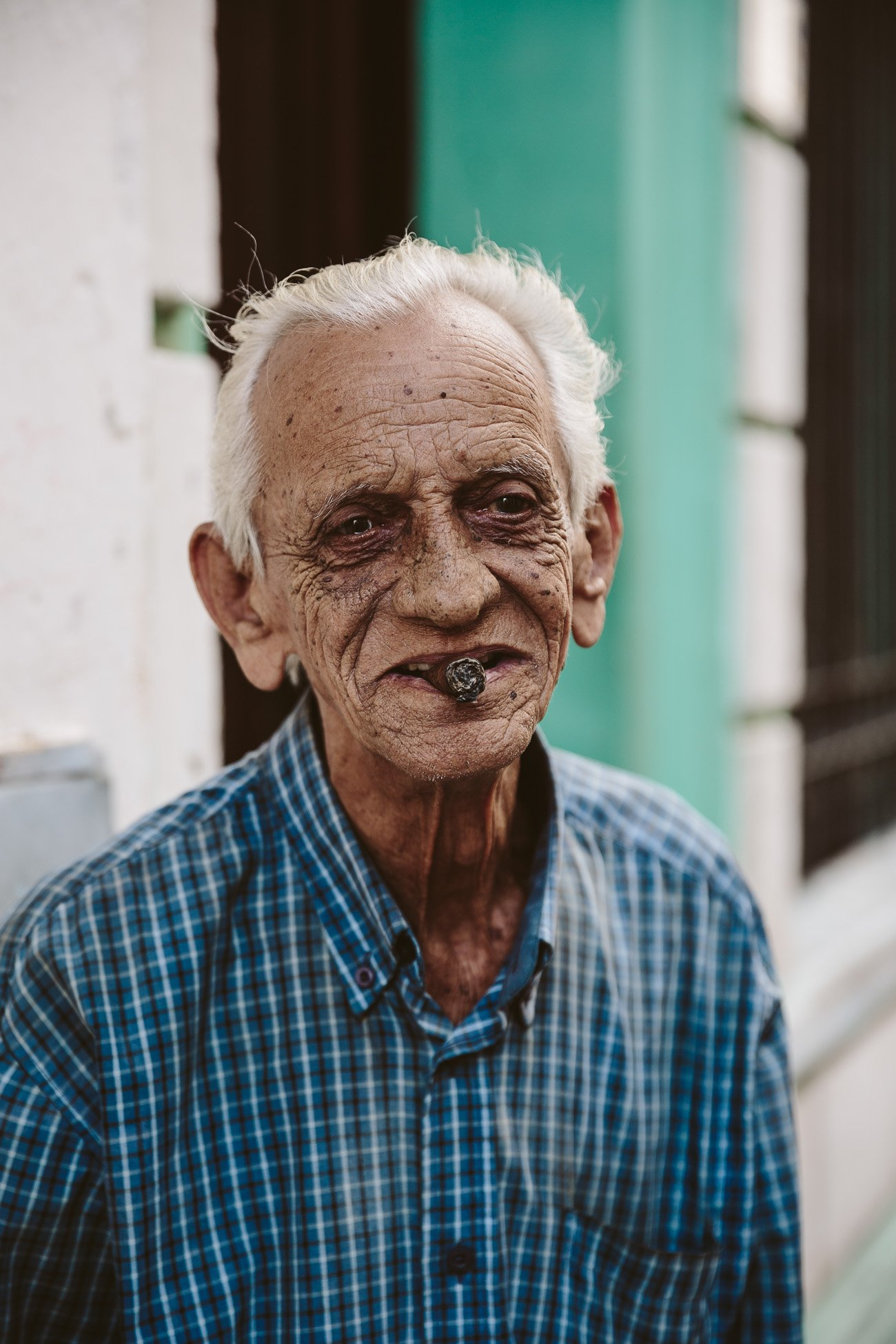 A man smoking a cigar in Havana Cuba