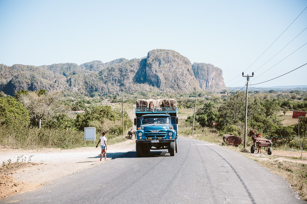 A truck transporting goods in Viñales Cuba