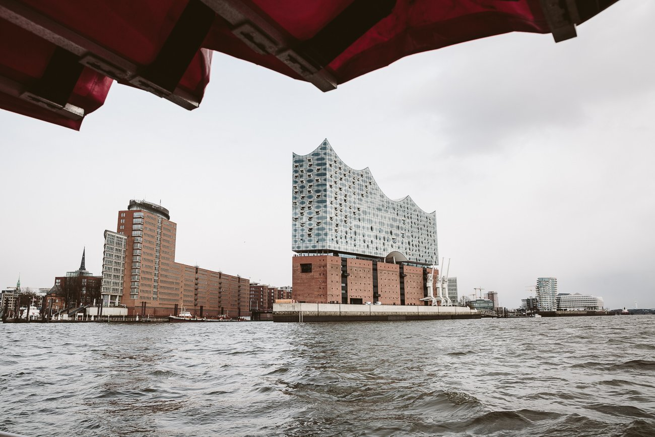 The Elphi Elbphilharmonie Hamburg as seen from a boat