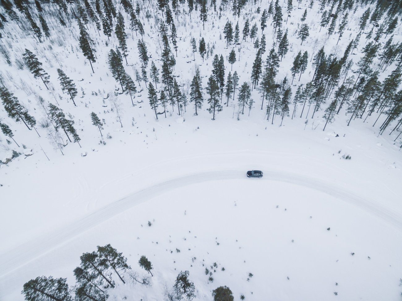 Alfa Romeo test drive in Swedish Lapland as seen from a drone
