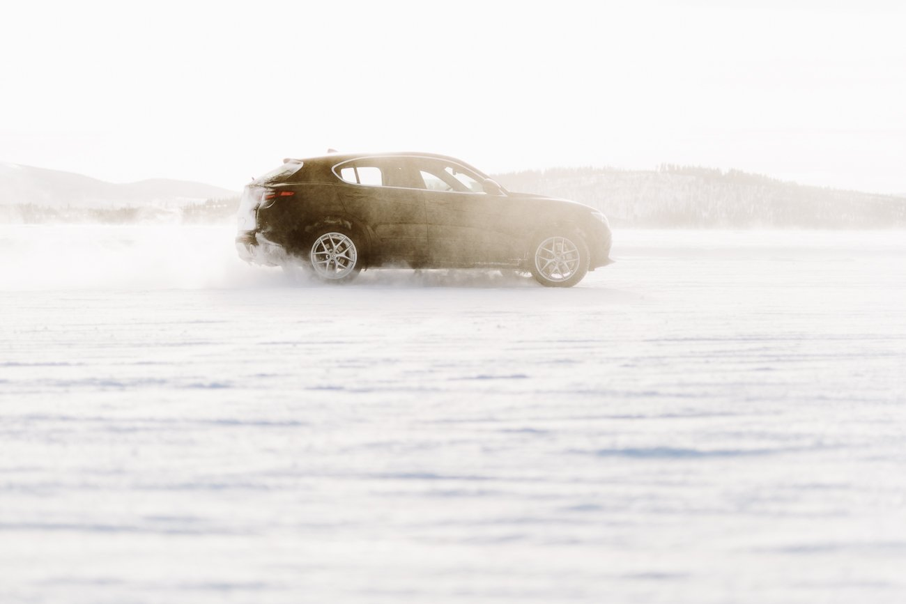 Icedrive with Alfa Romeo Stelvio in Alfa Romeo Stelvio in Swedish Lapland