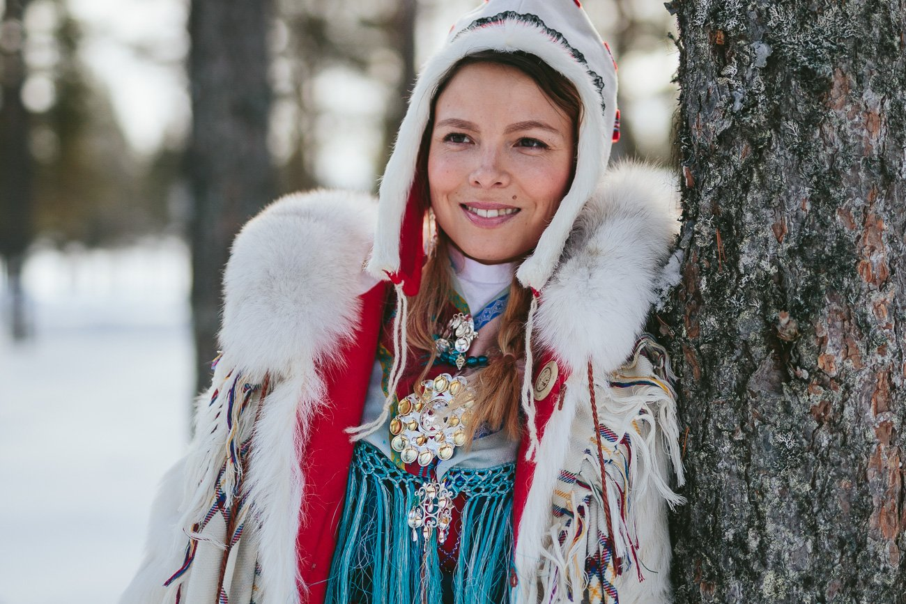 Sami girl Anne Kuhmunen in Swedish Lapland