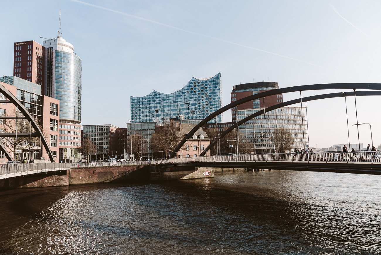 Hamburg's harbour in sunshine