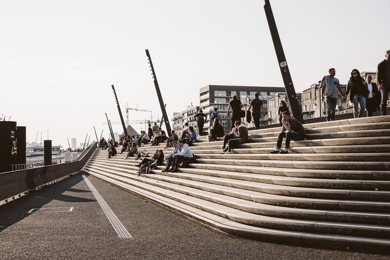 Sunny days at Zaha Hadid's stairs at Hamburg's Baumwall