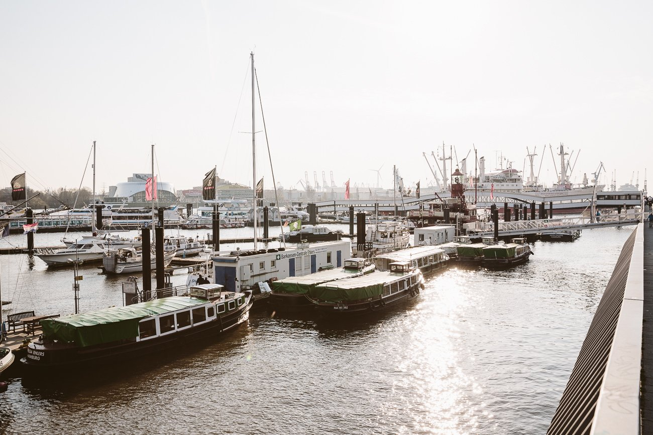 Boats rest in Hamburg's harbour