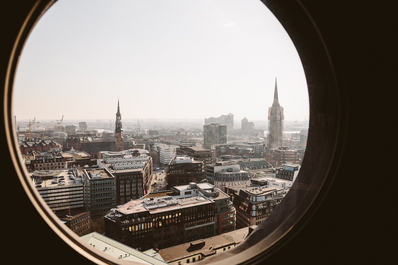 The view from St. Petri church tower in Hamburg