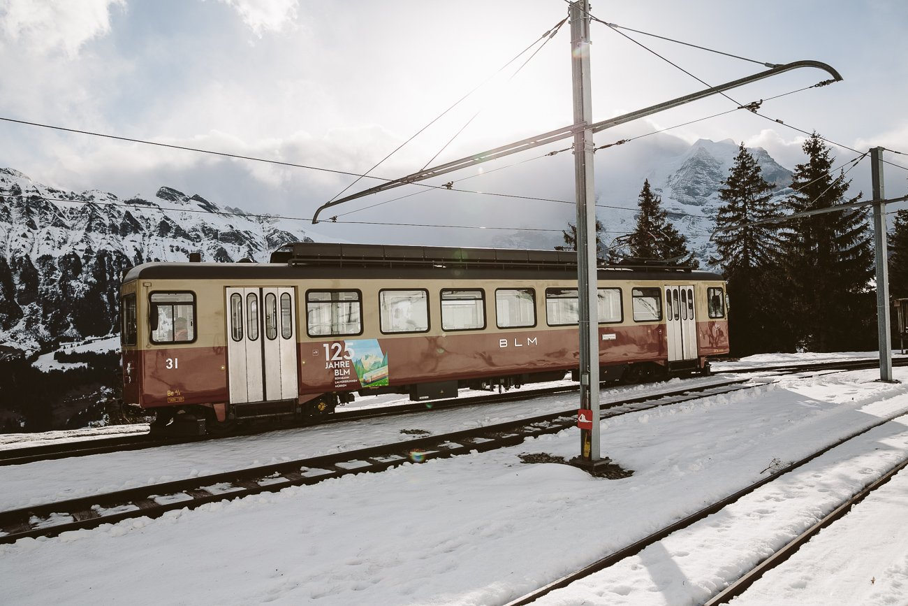 Train at Grütschalp in Switzerland's Jungfrauregion