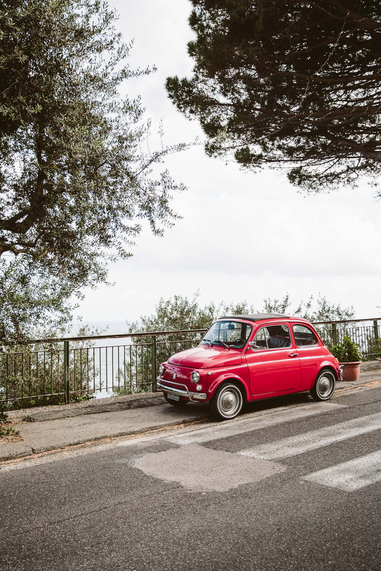 Red Fiat Cinquecento at the Amalfi Coast