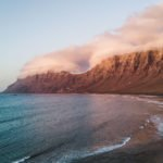 Sunset at Famara Beach in Lanzarote