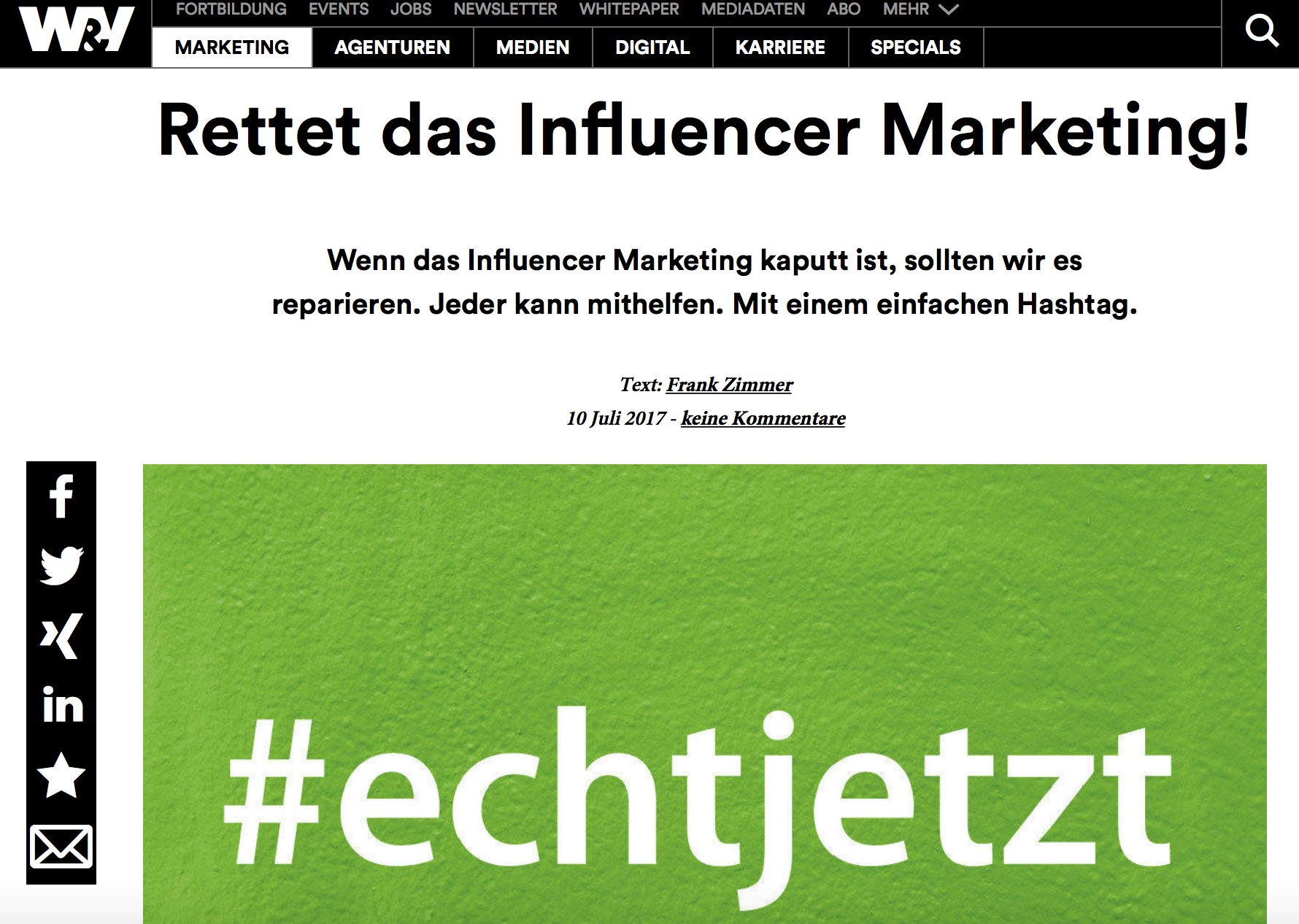 Rettet das Influencer Marketing