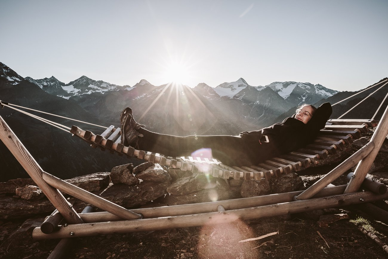 Hammock in the Ötztal mountains at Brunnenkogelhaus
