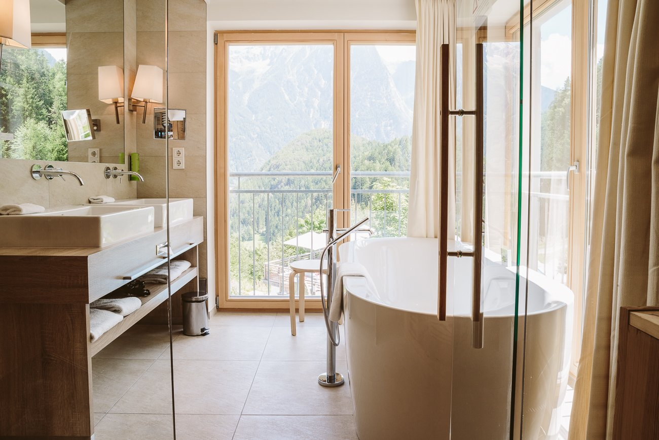 Bathroom of Suite #117 at Ritzlerhof Sautens Oetztal Tyrol