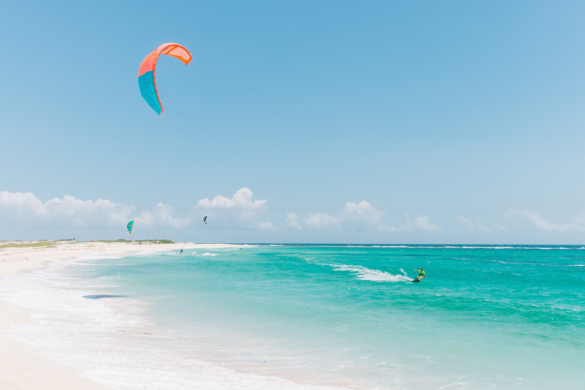 Kitesurfer at Boca Grandi Beach Aruba