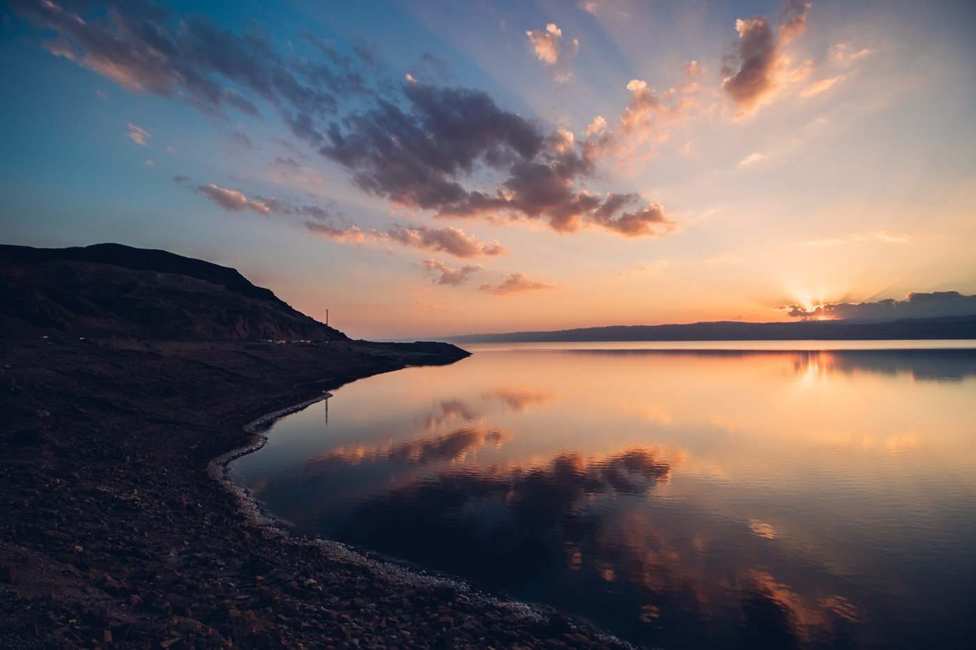 Sunset at the Dead Sea in Jordan as shot with Canon 200D