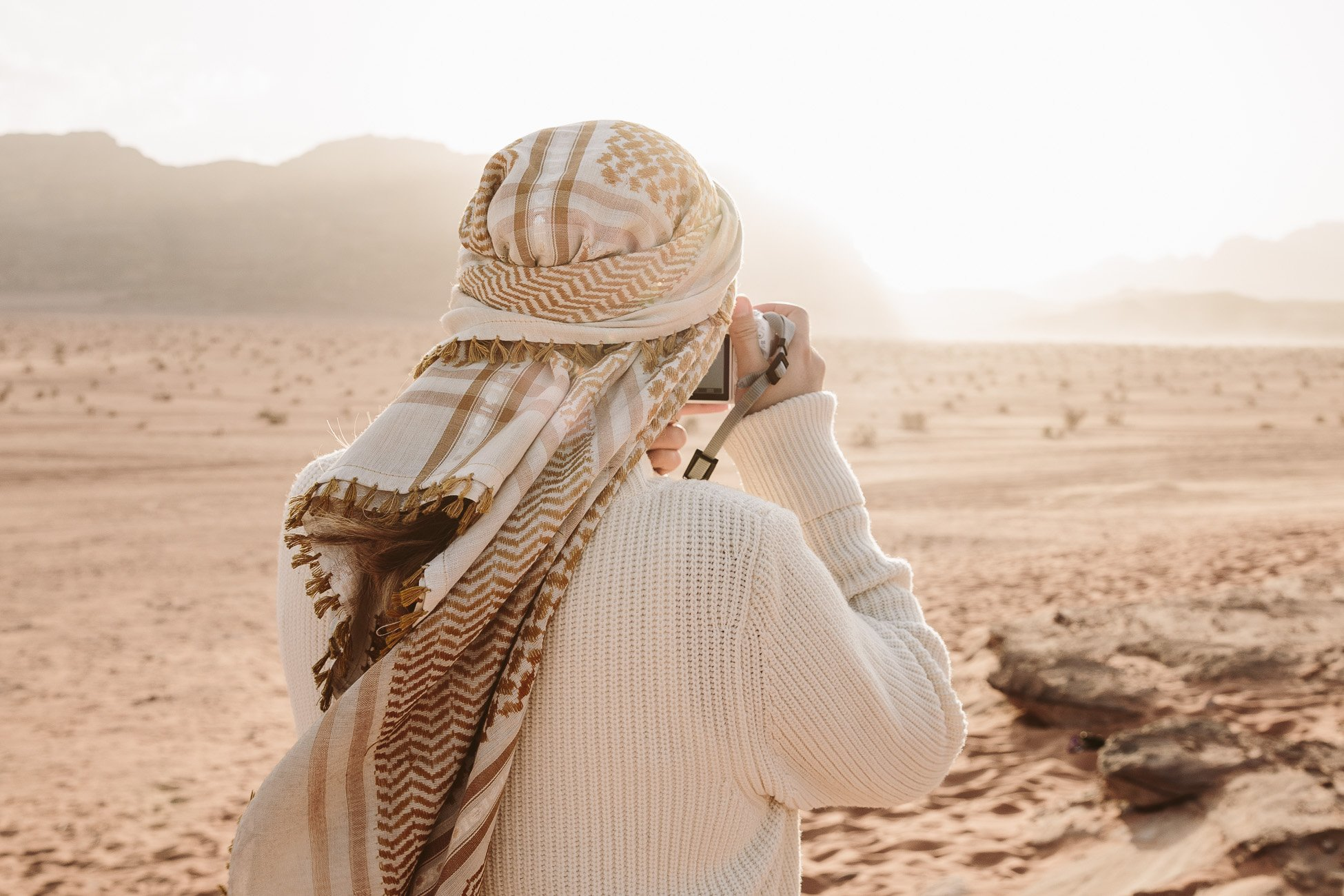 Me shooting in Wadi Rum Desert with the Canon 200D