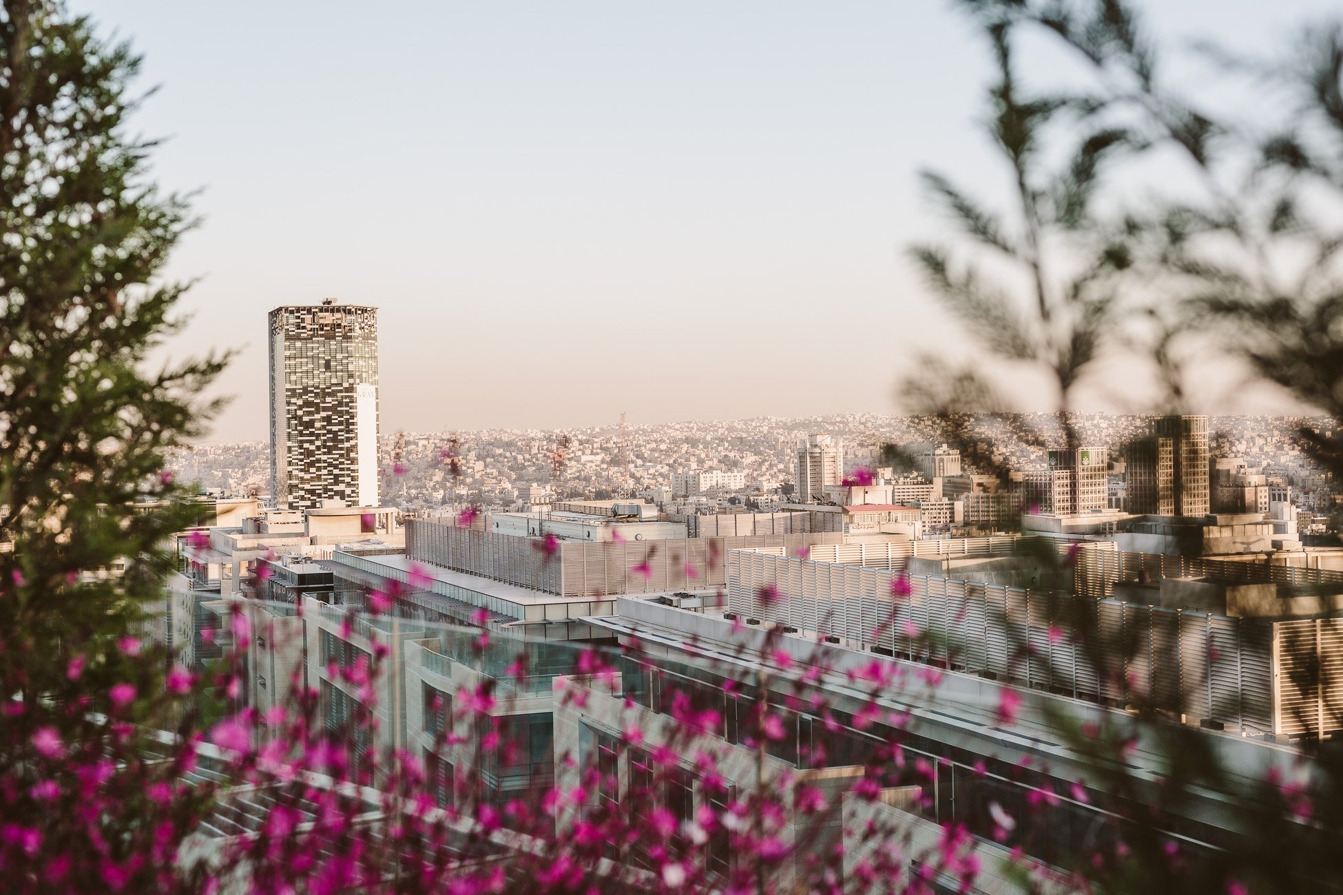 View from a High Rise in Amman during 24 hours in Amman