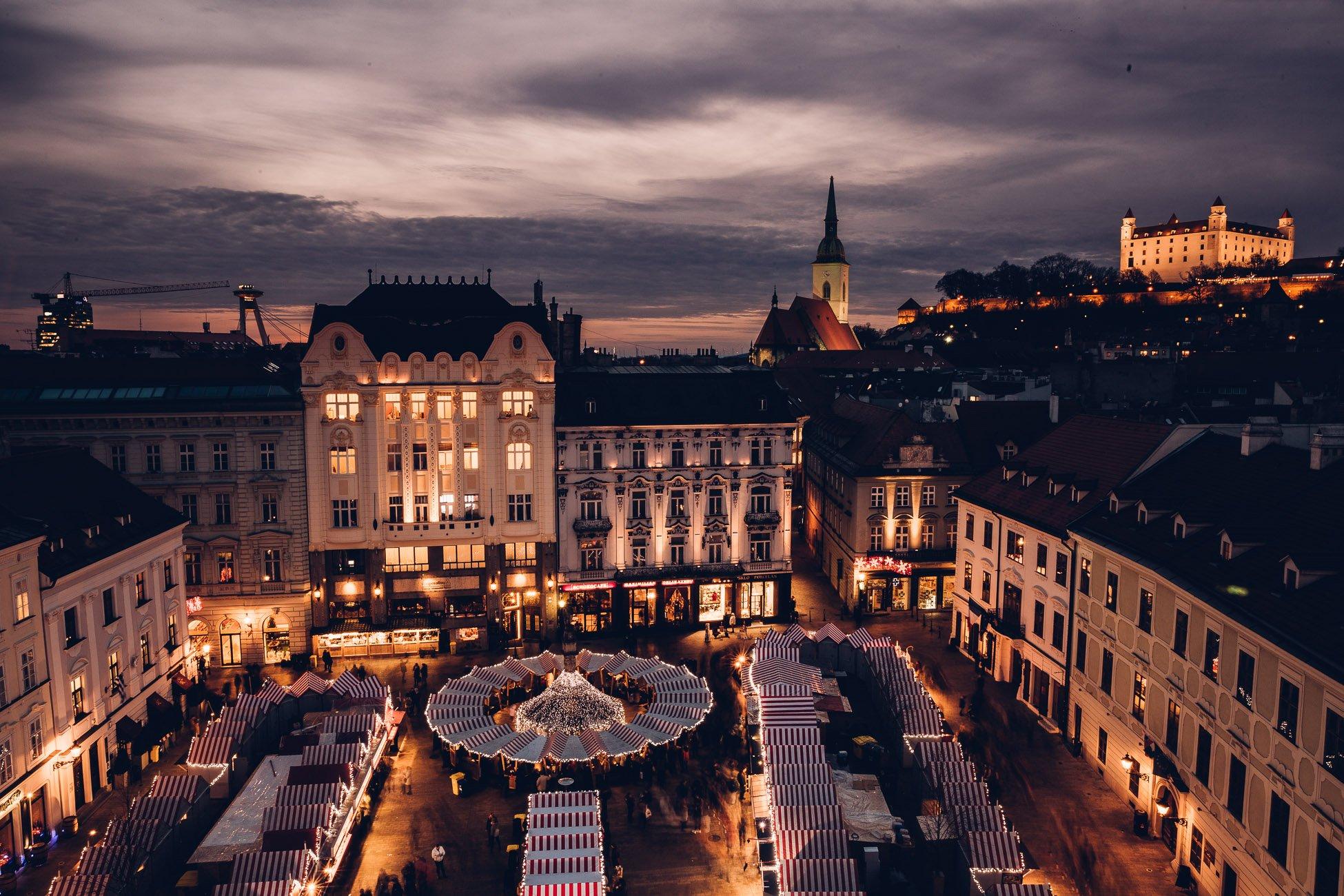 24 hours Bratislava in winter - Christmas market at the Main Square Hlavné námestie in Bratislava